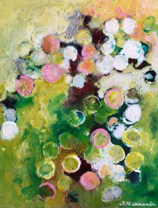 Ní Chionaola Sinéad. Circles of light. Acrylic on canvas. 200x250mm 2018