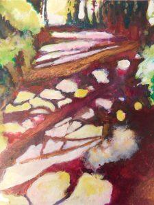 Ni Chionaola Sinéad. Dappled Light. Acrylic on canvas. 200x250mm 2018
