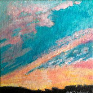 Sinéad Ní Chionaola. Calm before the storm. 150x150mm. Acrylic on Canvas 2019