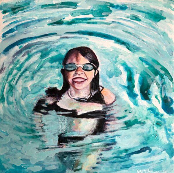 Sinéad Ní Chionaola. Pure Bliss. 120x120mm. Acrylic on gesso board. 2019
