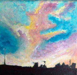 Sinéad Ní Chionaola.Winters Dawn. Acrylic on canvas. 150x150mm. 2019